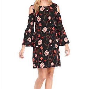 Luxology Floral Embroidered Open Shoulder Dress